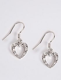 Diamanté Sparkle Heart Drop Earrings
