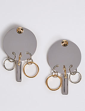 Button Disc Charm Earrings, , catlanding