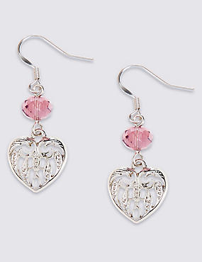 Multi-Faceted Bead Heart Drop Earrings
