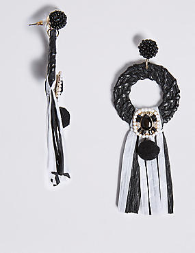 Mono Rattan Tassel Drop Earrings