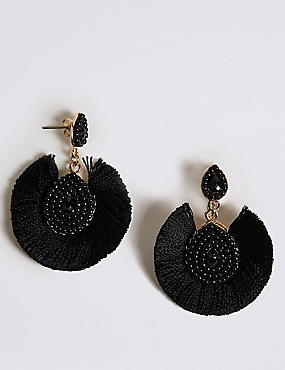 Fabric Fan Drop Earrings