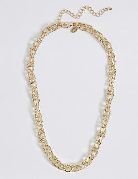 Gold Plated Textured Link Necklace