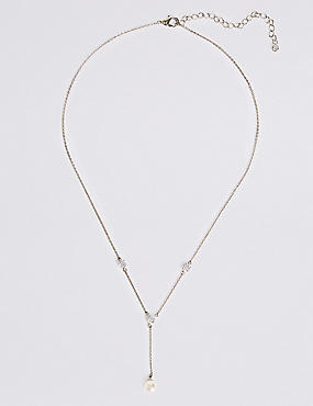 Platinum Plated Pearl Drop Necklace