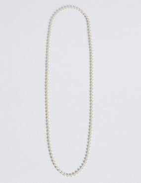 Pearl Effect Long Rope Necklace, , catlanding