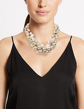 Pearl Effect Cluster Necklace, MINK, catlanding