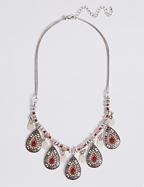 Beaded Enamel Teardrop Necklace