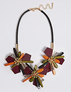 Abstract Flower Collar Necklace, , catlanding