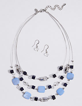 Layered Necklace & Earrings Set