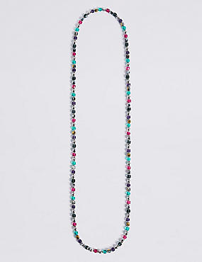Square Beaded Long Necklace