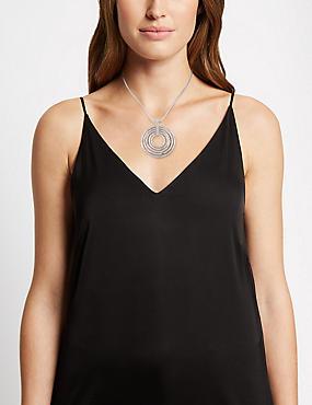 Silver Plated Gradient Circle Diamanté Necklace, , catlanding