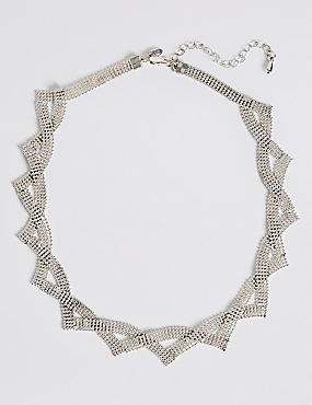 Silver Plated Ball Chain Collar Necklace, , catlanding