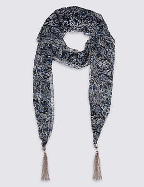Printed Craftwork Scarf Necklace