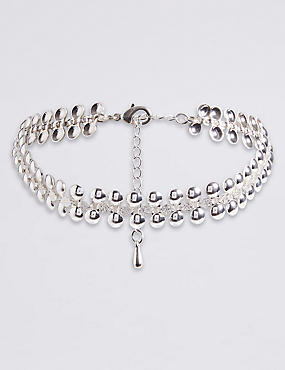 Silver Plated Hammered Choker Necklace
