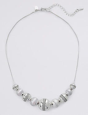 Silver Plated Graduated Ball Necklace, , catlanding