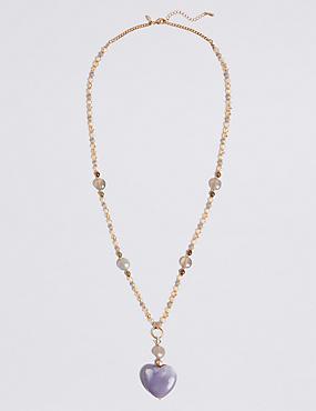 Beaded Crazy Heart Shape Necklace, , catlanding