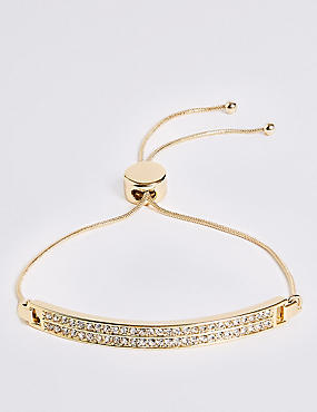 Gold Plated Pave Bar Bracelet