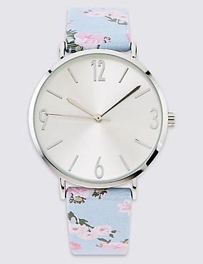 Round Face Floral Strap Watch