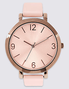 Smooth Round Face Watch, PINK MIX, catlanding