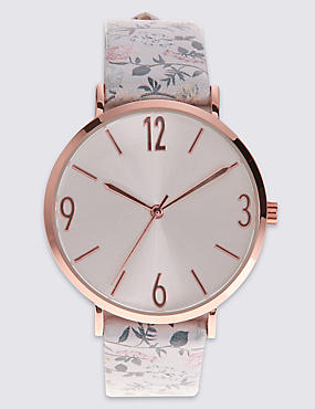 Round Face Pattern Strap Watch