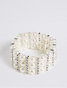 Pearl Effect Diamanté Stretch Bracelet