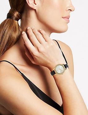 Round Face Sparkle Watch, , catlanding