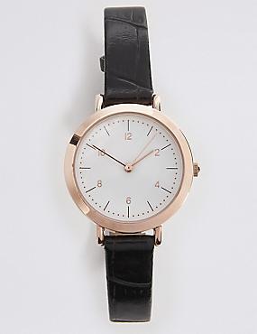 Sleek Minimal Round Strap Watch, , catlanding
