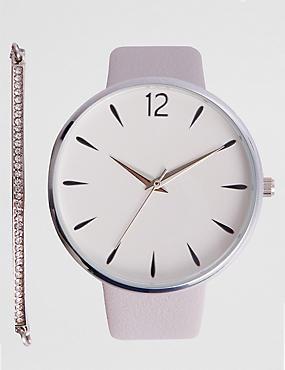Round Face Modern Watch Set, , catlanding