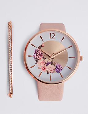 Round Face Floral Watch Set, , catlanding