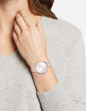 Double Sparkle Round Face Strap Watch, ROSE MIX, catlanding
