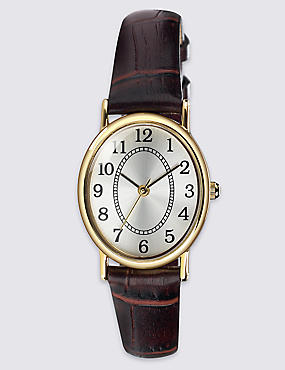 Oval Face Classic Strap Watch