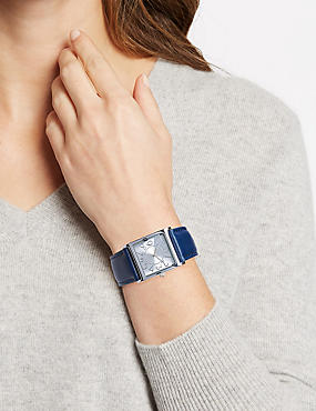 Large Square Face Strap Watch, NAVY MIX, catlanding