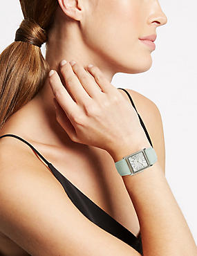 Large Square Face Strap Watch, GREEN MIX, catlanding