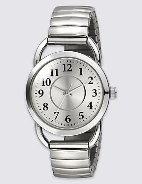 Vintage Style Round Face Expandable Watch, , catlanding