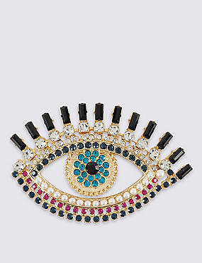 Pearl Effect & Diamanté Eye Brooch