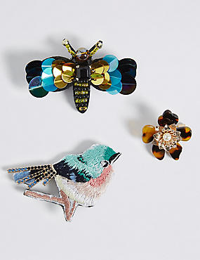 3 Pack Bird & Bug Sequin Brooches