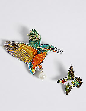 2 Pack Tropical Bird Brooches