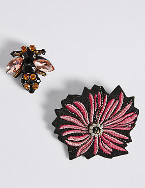 2 Pack Jewelled Bee Brooches