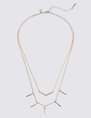 Layered Pave & Stick Necklace by M&S Collection