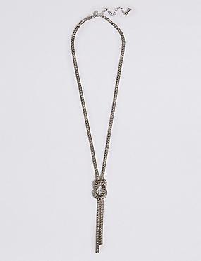 Trapped Diamanté Knot Necklace, , catlanding
