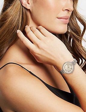 Round Face Double Sparkle Bracelet Watch, SILVER MIX, catlanding