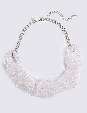 Glass Chain Collar Necklace, SILVER MIX, catlanding