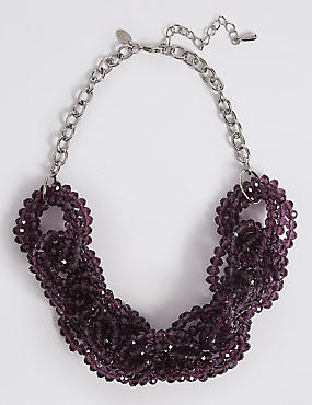 Glass Chain Collar Necklace, PURPLE, catlanding