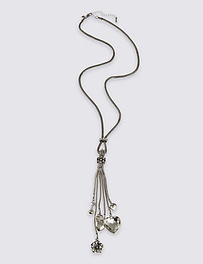 Metal Tassel Diamanté Heart Necklace