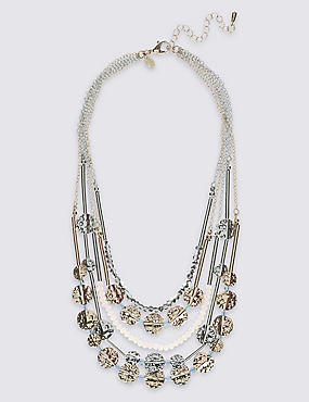 Multi-Strand Disc Row Necklace