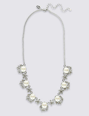 Pearl Effect Flower Section Collar Necklace