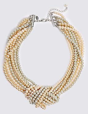 Knot Pearl Necklace, MINK, catlanding