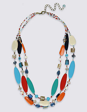 Flat Wood & Beaded Multi-Layered Necklace