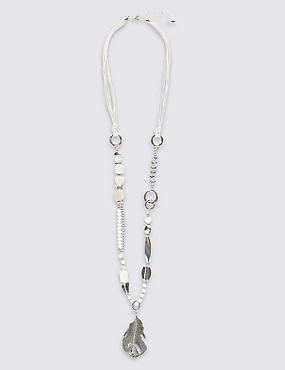 Long Leaf Assorted Bead Necklace