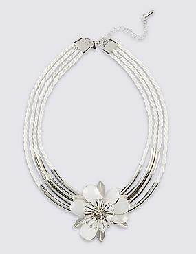 Diamanté Floral Tube Necklace