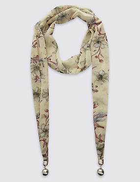 Floral Print Scarf Necklace